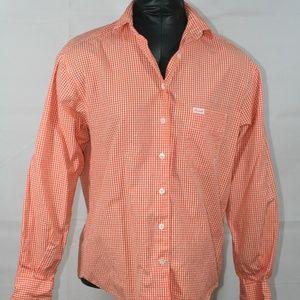 Faconnable orange and white checked shirt